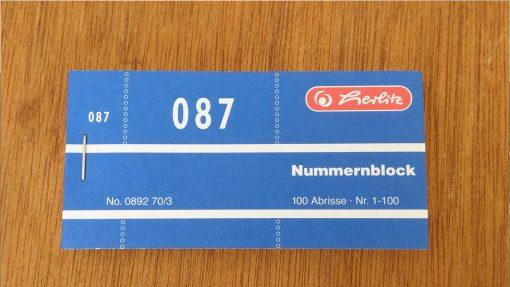 4gs030 Garderobenmarke Block 100 Stck.